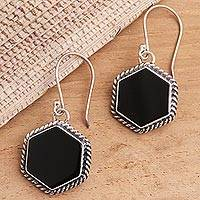 Onyx dangle earrings, 'Midnight Hexagons' - Onyx and Sterling Silver Hexagonal Dangle Earrings from Bali