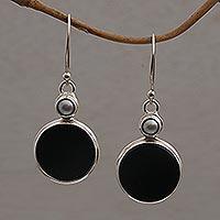 Onyx and cultured pearl dangle earrings, 'Light and Dark Circles' - Onyx and Cultured Pearl Circular Dangle Earrings form Bali