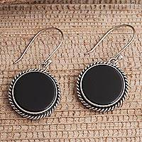 Onyx dangle earrings, 'Midnight Circles' - Onyx and Sterling Silver Circular Dangle Earrings form Bali