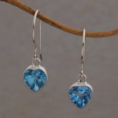 Blue topaz dangle earrings, 'Color of Love' - Blue Topaz Heart-Shaped Dangle Earrings from Bali