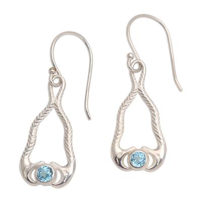 Blue Topaz and 925 Silver Snake Dangle Earrings from Bali