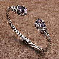Gold accent amethyst cuff bracelet, 'Teardrop Pebbles' - Gold Accent Teardrop Amethyst Cuff Bracelet from Bali