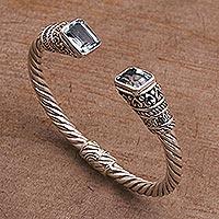 Blue topaz cuff bracelet, 'Majestic Love'