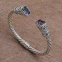 Amethyst cuff bracelet, 'Majestic Love' - Amethyst and Sterling Silver Cuff Bracelet from Bali