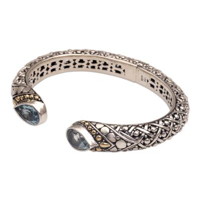 Gold accent blue topaz cuff bracelet, 'Altar Teardrops' - 18k Gold Accent Blue Topaz Cuff Bracelet from Bali