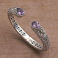 Gold accent amethyst cuff bracelet, 'Altar Teardrops' - 18k Gold Accent Amethyst Cuff Bracelet from Bali