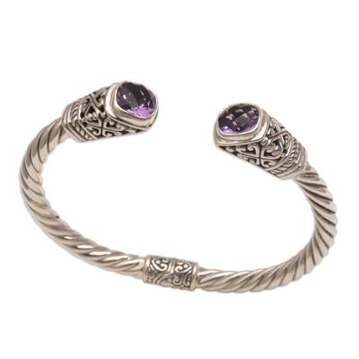 Amethyst cuff bracelet, 'Altar Swirl' - Amethyst and 925 Silver Rope Design Cuff Bracelet from Bali