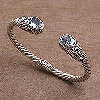 Blue topaz cuff bracelet, 'Temple Baskets' - Blue Topaz Woven Motif Cuff Bracelet from Bali
