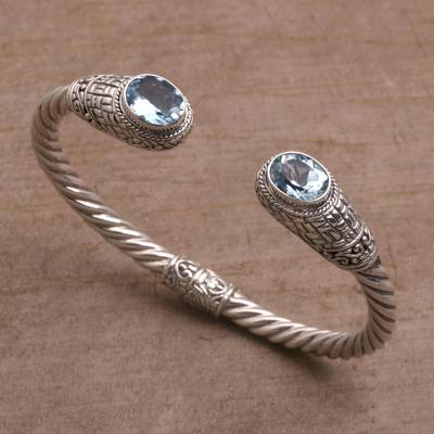 Blue topaz cuff bracelet, Temple Baskets