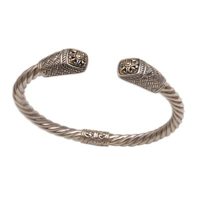 Gold accented sterling silver cuff bracelet, 'Janur Temple' - Gold Accented Woven Motif 925 Silver Cuff Bracelet from Bali