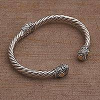 Gold accent sterling silver cuff bracelet, 'Shrine Leaves' - Gold Accent Rope Design Sterling Silver Bracelet from Bali