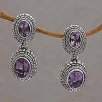 Amethyst dangle earrings, 'Shell Braid' - Amethyst and Sterling Silver Dangle Earrings from Bali