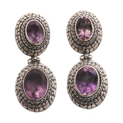 Amethyst dangle earrings, 'Shell Braid' - Amethyst and Sterling Silver Dangle Earrings from Bali