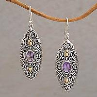 Gold accent amethyst dangle earrings, 'Shields of Vines' - 18k Gold Accent Amethyst Dangle Earrings from Bali
