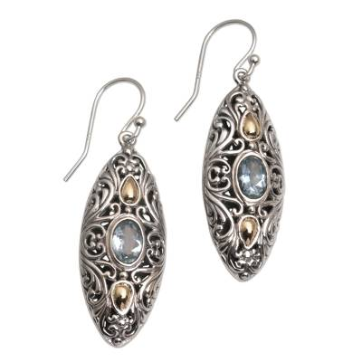 Gold accent blue topaz dangle earrings, 'Shields of Vines' - 18k Gold Accent Blue Topaz Dangle Earrings form Bali