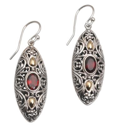 Gold accent garnet dangle earrings, 'Shields of Vines' - 18k Gold Accent Garnet Dangle Earrings from Bali