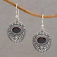 Gold accent garnet dangle earrings, 'Swirling Crests' - Gold Accent Garnet and 925 Silver Earrings from Bali