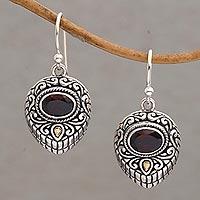 Gold accent garnet dangle earrings, 'Swirling Crests' - Gold Accent Garnet and 925 Silver Earrings from Bali