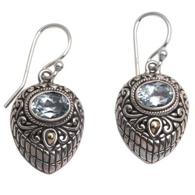 Gold accent blue topaz dangle earrings, 'Swirling Crests' - Gold Accent Blue Topaz and 925 Silver Earrings from Bali
