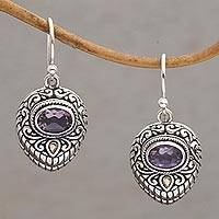 Gold accent amethyst dangle earrings, 'Swirling Crests' - Gold Accent Amethyst and 925 Silver Earrings from Bali