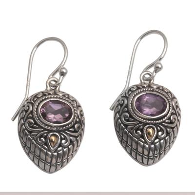 Gold accent amethyst dangle earrings, 'Swirling Crests' - Gold Accent Amethyst and 925 Silver Earrings from Bali