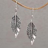 Sterling silver dangle earrings, 'Leaf Mystique'