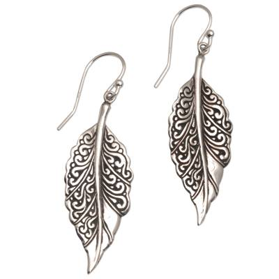 Sterling silver dangle earrings, 'Leaf Mystique' - Sterling Silver Swirling Leaf Dangle Earrings from Bali