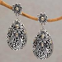 Gold accent sterling silver dangle earrings, 'Flower Berries' - 18k Gold Accent Silver Floral Dangle Earrings from Bali