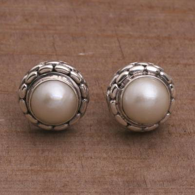 Cultured pearl button earrings, 'Temple Domes' - Cultured Pearl and Sterling Silver Button Earrings from Bali