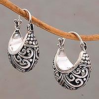 Sterling silver hoop earrings, 'Stupa Vines'