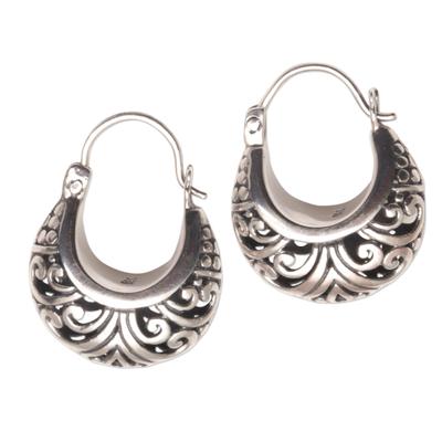 Sterling silver hoop earrings, 'Stupa Vines' - Sterling Silver Swirling Hoop Earrings from Bali