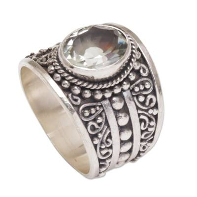 Prasiolite and Sterling Silver Single Stone Ring from Bali