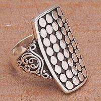 Sterling silver cocktail ring, 'Circle Shield'