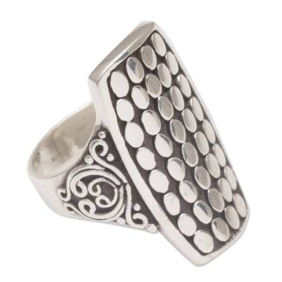 Sterling silver cocktail ring, 'Circle Shield' - Sterling Silver Circle Motif Cocktail Ring from Bali