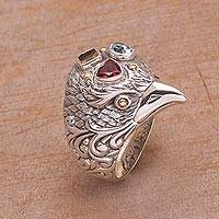 Gold accent multi-gemstone cocktail ring, 'Starling Charisma' - Gold Accent Multi-Gemstone Bird Cocktail Ring from Bali