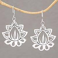 Sterling silver dangle earrings, 'Unforgettable Lotus' - Sterling Silver Lotus Flower Dangle Earrings from Bali