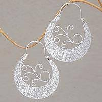 Sterling silver hoop earrings, 'Moonlight Dew' - Sterling Silver Swirling Hoop Earrings from Bali