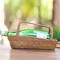 Pandan leaf wine bottle holder, 'Natural Companion' - Handcrafted Pandan Leaf Bottle Holder from Bali