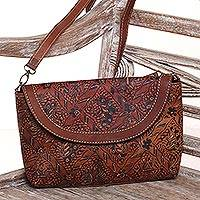 Batik leather sling bag, 'Floral Allure' - Batik Leather Sling Bag with Long Adjustable Strap