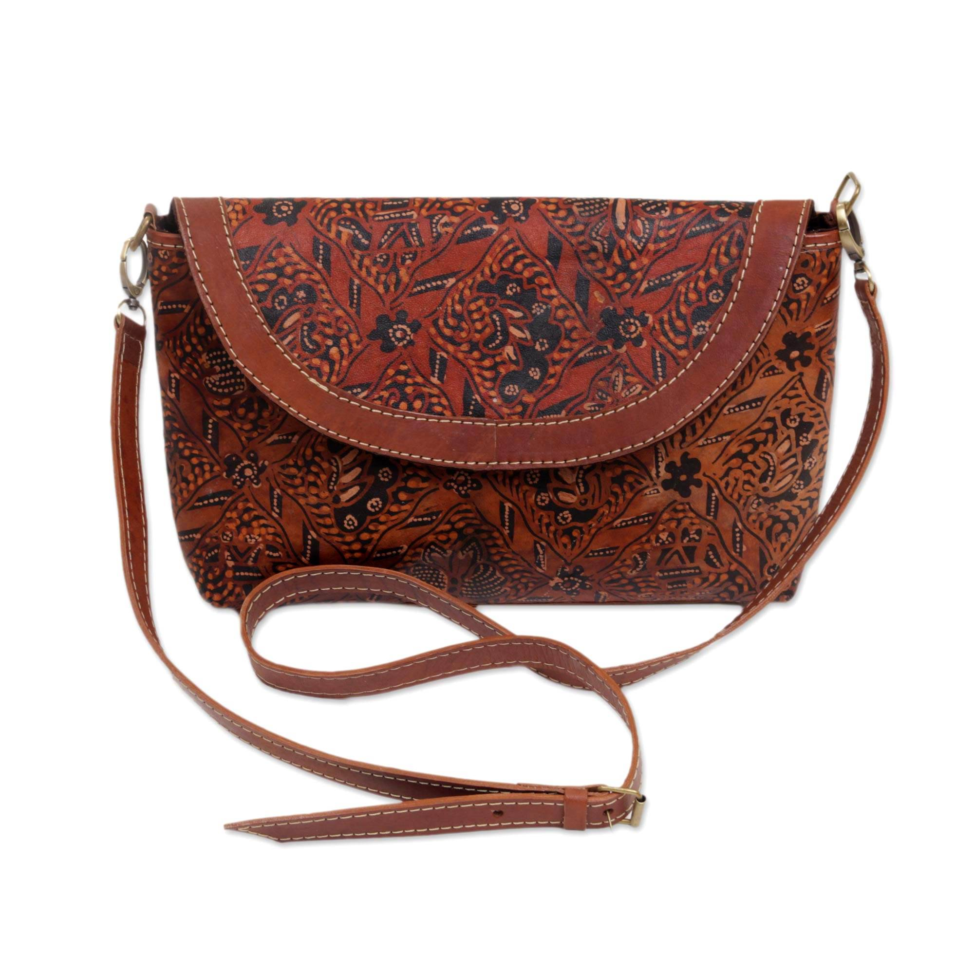 Harga Dan Spek Bulk Whole Handmade Sling Bag Cross Body In D Island Sandal Nippers Puyu Leather Cokelat Tua Batik With Long Adjustable Strap Floral Allure
