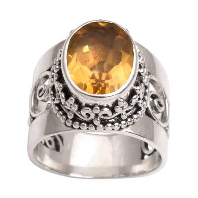 Citrine single stone ring, 'Glorious Vines' - Citrine and Sterling Silver Single Stone Ring from Bali