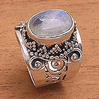 Rainbow moonstone cocktail ring, 'Glorious Vines'