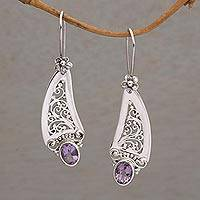 Amethyst dangle earrings, 'Beautiful Vines'