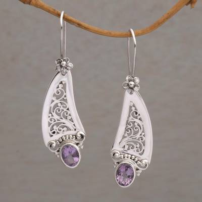 Amethyst dangle earrings, 'Beautiful Vines' - Amethyst and 925 Silver Vine Motif Dangle Earrings from Bali