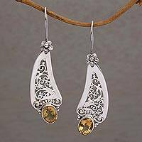 Citrine dangle earrings, 'Beautiful Vines' - Citrine and 925 Silver Vine Motif Dangle Earrings from Bali