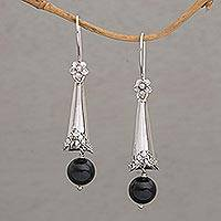 Onyx dangle earrings, 'Floral Cones' - Onyx and Sterling Silver Floral Dangle Earrings from Bali