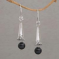 Onyx dangle earrings, 'Floral Cones'