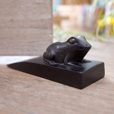 Wood doorstop, 'Helpful Toad in Black' - Handcrafted Suar Wood Toad Doorstop in Black from Bali