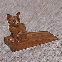Wood doorstop, 'Helpful Kitten in Brown' - Handcrafted Suar Wood Cat Doorstop in Brown from Bali