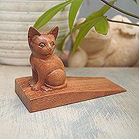 Wood doorstop, 'Helpful Kitten in Brown' - Handcrafted Suar Wood Cat Doorstop in Brown from Bali